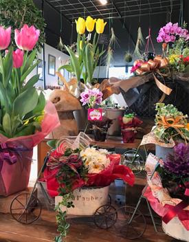店内はたくさんのお花で溢れています